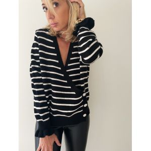 Black Stripe Cardigan
