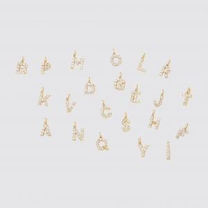 Mini Lettres for Custom Jewelry Gokd Plated 14K with Zyrconium Crystal Stones